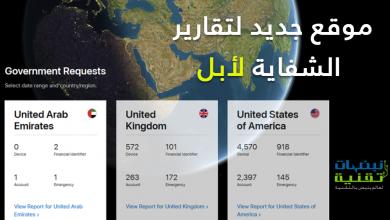 صورة موقع جديد لشركة أبل لتقارير الشفافية و الطلبات الحكومية لكشف بيانات المستخدمين