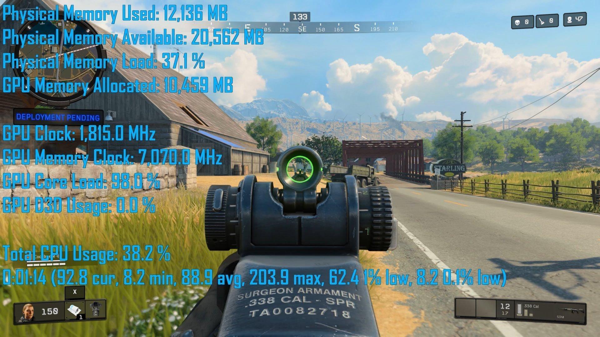 استهلاك الرام على لعبة Call of Duty Black Ops 4