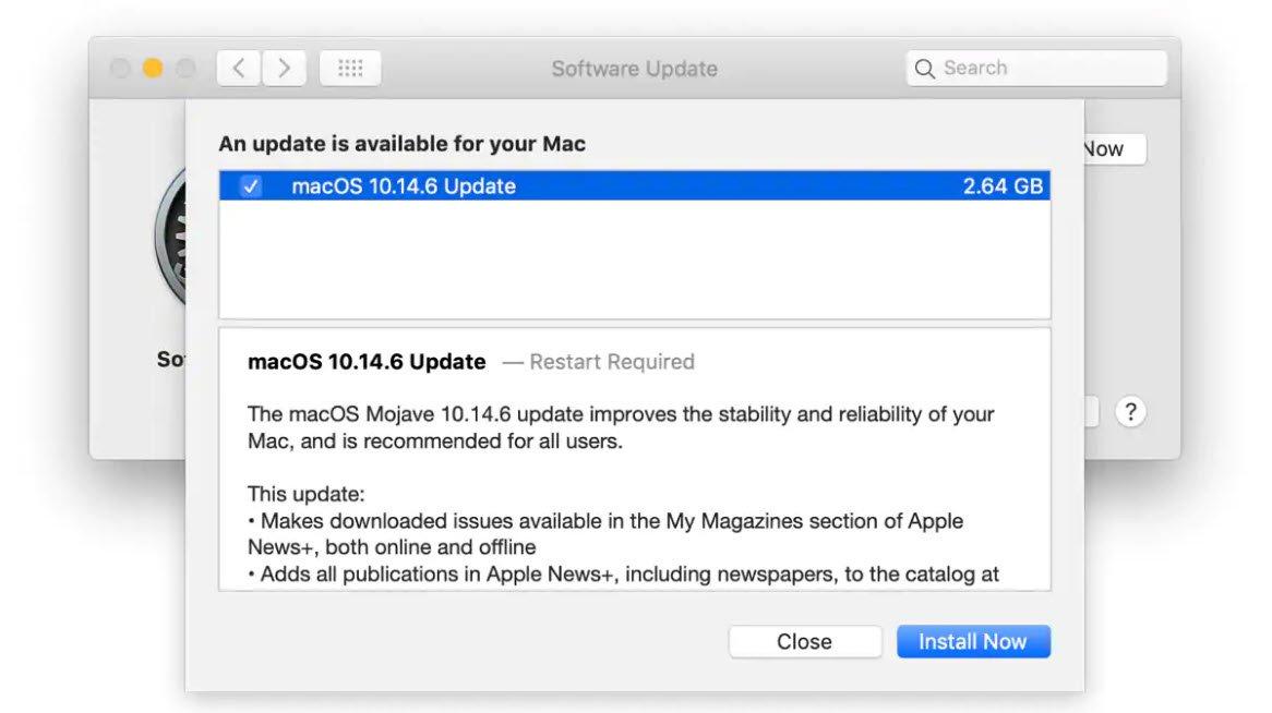 تحديث macOS 10.14.6